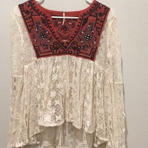Free People lace embroidered blouse.